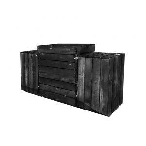 Saliekams stends no koka kastēm