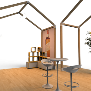 Foldabe wooden exhibition stands