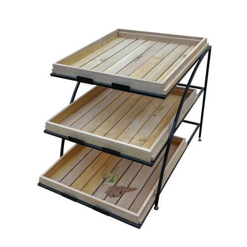 3 tired metal stand with wooden trays