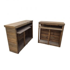 Two-part pop-up wooden counter