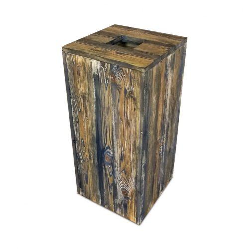 Aged wood waste bin